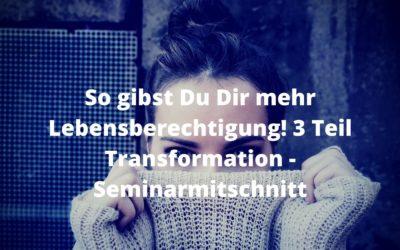 So gibst Du Dir mehr Lebensberechtigung! 3 Teil Transformation-Seminarmitschnitt
